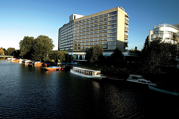 The Amsterdam Hilton, Amsterdam, Netherlands. The hotel was also the location of John Lennon and Yoko Ono's Bed-in for Peace protest against war.