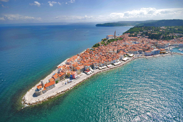 Bird's eye view of Piran