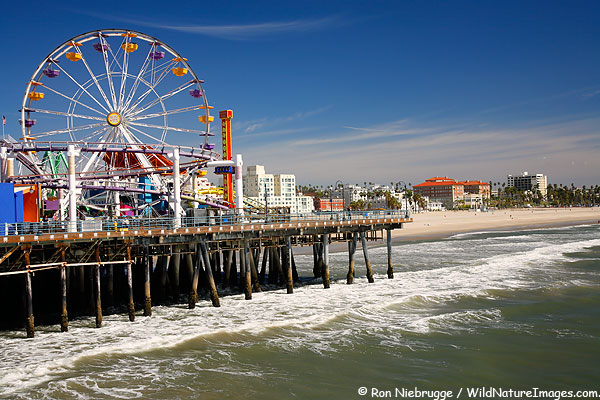 Amusement park on the Santa Monica Pier, Los Angeles area, California.